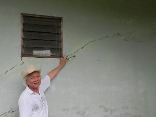 Nhà dân bị ảnh hưởng do động đất khu vực A Lưới, tỉnh Thừa Thiên - Huế  Ảnh: Viện Vật lý địa cầu