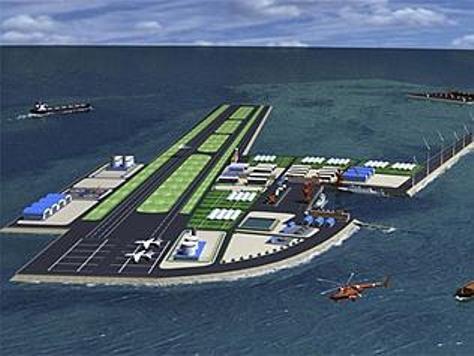 Những hình ảnh đồ họa về căn cứ không quân tương lai tại Đá Chữ Thập tương tự hình này liên tục được truyền thông Trung Quốc đăng tải trong thời gian qua. Nguồn: news.au.com