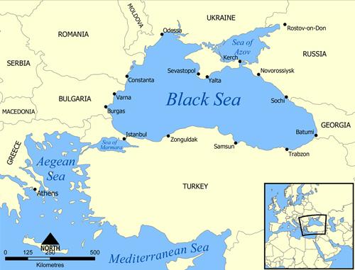 Bản đồ khu vực quanh biển Đen. Nguồn: Wikipedia