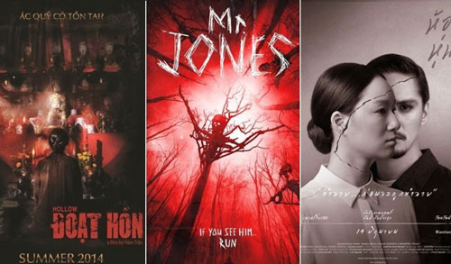 Áp phích các phim: Đoạt hồn, Tượng ma và Tượng sáp ma đang công chiếu tại hệ thống rạp chiếu phim Việt Nam