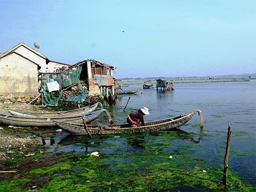 Nhiều nhà dân xây cất lấn chiếm đầm Ô Loan, xả thải trực tiếp xuống nước