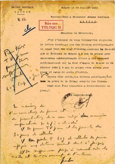 Công văn số 680 ngày 29-7-1935 của quản ngục gửi giám đốc Khám lớn Sài Gòn về bản yêu sách của nhà yêu nước Trần Văn Giàu và tù chính trị về đấu tranh tuyệt thực
