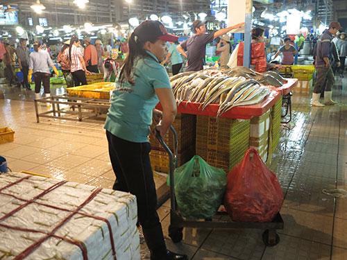 Chị Trần Thị Thu đang vận chuyển từng thùng cá Ảnh: KHA MIÊN