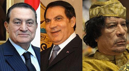 Vẫn chưa thể phục hồi gần 300 tỉ USD của các nhà độc tài đã bị lật đổ Hosni Mubarak, Zine El Abidine Ben Ali và Muammar Gaddafi (từ trái sang) Ảnh: HIZB.ORG.UK