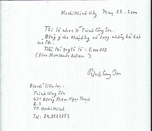 Bản viết tay của nhạc sĩ Trịnh Công Sơn vừa được ca sĩ Khánh Ly công bố