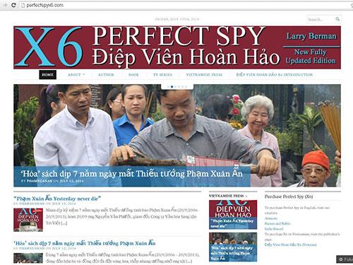 Giao diện trang web về Thiếu tướng tình báo Phạm Xuân Ẩn Nguồn: First News - Trí Việt cung cấp