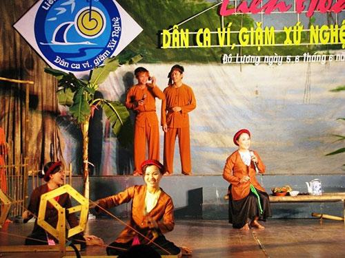 """Sân khấu liên hoan dân ca của địa phương tổ chức ghi """"Liên hoan Dân ca ví, giặm xứ Nghệ"""" Ảnh: INTERNET"""