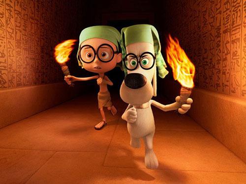 Hai nhân vật chính trong phim hoạt hình Mr. Peadody & Sherman, tác phẩm đang khuynh đảo các phòng vé thị trường Mỹ Nguồn: DreamWorks