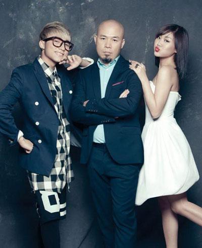 Bộ ba Sơn Tùng M-TP, nhạc sĩ Huy Tuấn và ca sĩ Văn Mai Hương Ảnh: Dương Bình Nguyên