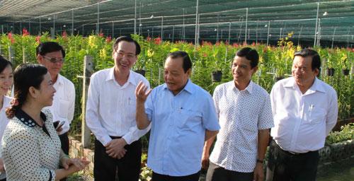 Ông Lê Thanh Hải thăm mô hình trồng lan ở huyện Củ Chi