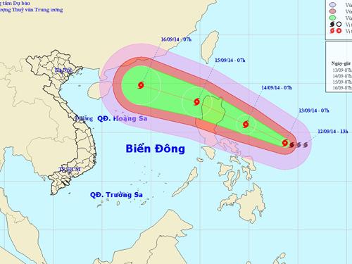 Vị trí và hướng di chuyển của bão Kalmaegi - Nguồn: Trung tâm Dự báo khi tượng thủy văn Trung ương