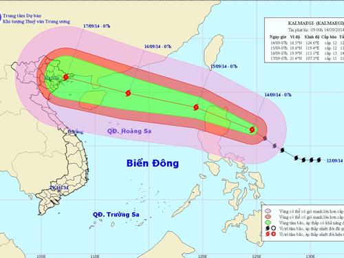 Vị trí và hướng di chuyển của bão Kalmaegi - Nguồn: Trung tâm Dự báo khí tượng thủy văn Trung ương