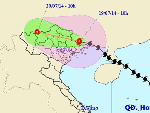 Vị trí và hướng di chuyển của bão Thần Sấm - Nguồn: Trung tâm dự báo khí tượng thủy văn TƯ