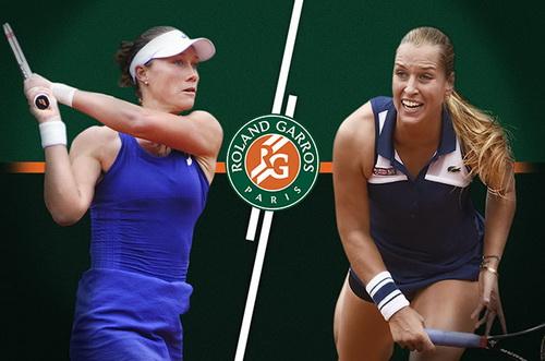 Sam Stosur đánh bại Cibulkova (phải)