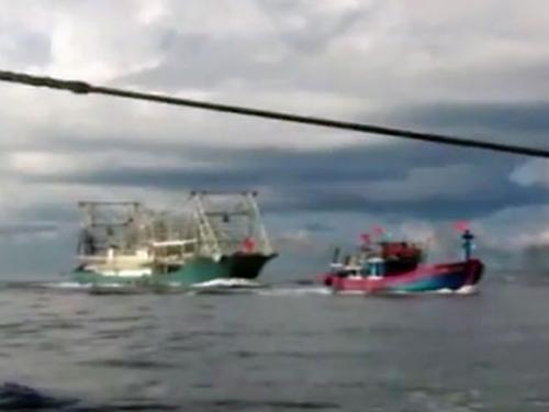 Tàu cá vỏ sắt của Trung Quốc hung hăng đuổi theo tàu cá vỏ gỗ ĐNA 90152 TS...