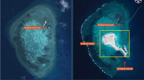 Ảnh trái: Cấu trúc ban đầu. Ảnh phải: Hòn đảo nhân tạo và kênh đào được nạo vét - Ảnh: Báo Lao động
