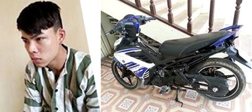 Nghi phạm Lê Văn Doanh và chiếc xe máy của nạn nhân - Ảnh: CAND