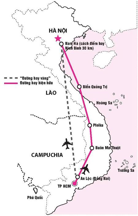 Nếu lập được đường bay thẳng, thời gian bay giữa Hà Nội và TP HCM sẽ được rút ngắn khoảng 110 km. Đồ họa: PHƯƠNG ANH