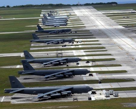 Máy bay ném bom tại căn cứ quân sự Anderson. Guam. Ảnh: US Air Force