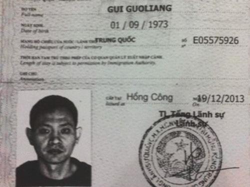 Hình chụp từ hộ chiếu của