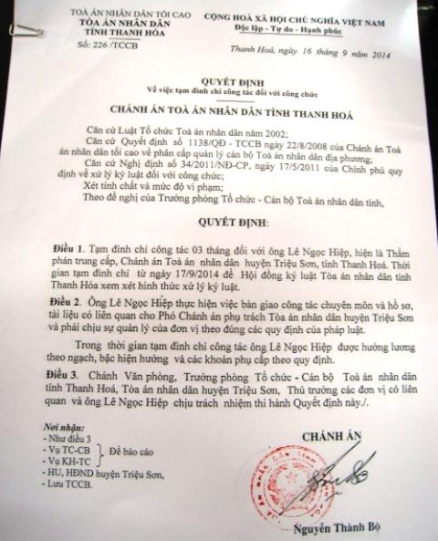 Quyết định đình chỉ công tác đối với ông Lê Ngọc Hiệp, Chánh án TAND huyện Triệu Sơn