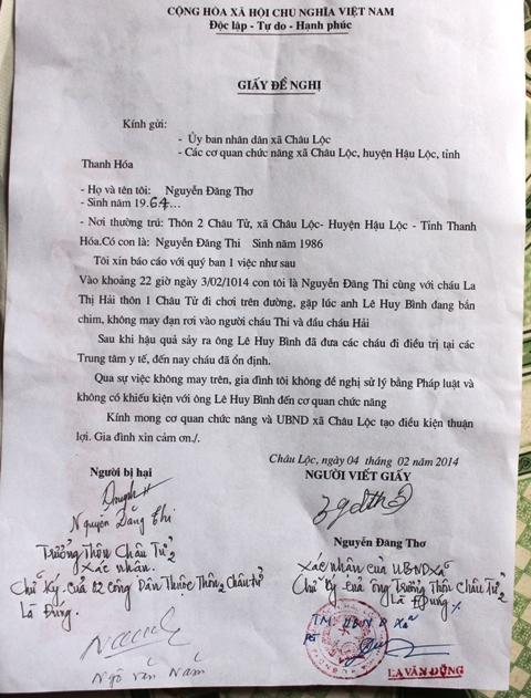 Giấy đề nghị giải quyết dân sự đối với ông trưởng công an xã bắn chim không may đạn lạc trúng người của gia đình cháu Nguyễn Đăng Thi