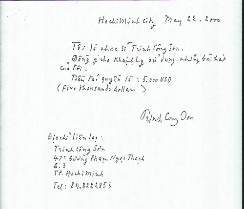 Bản sao giấy có công chứng xác nhận có chữ ký của nhạc sĩ Trịnh Công Sơn từ năm 2000