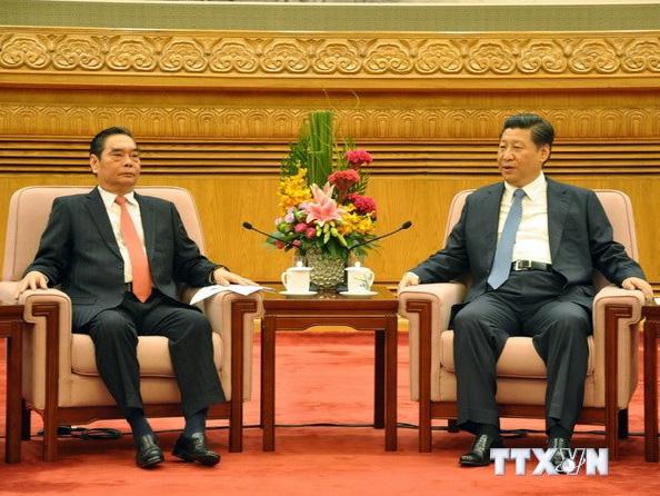 Ông Lê Hồng Anh - Ủy viên Bộ Chính trị, Thường trực Ban Bí thư, Đặc phái viên của Tổng Bí thư Nguyễn Phú Trọng - hội kiến với Tổng Bí thư, Chủ tịch Trung Quốc Tập Cận Bình - Ảnh: TTXVN