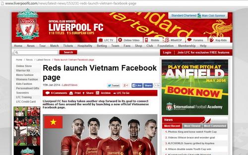 Thông báo chính thức trên trang chủ của Liverpool