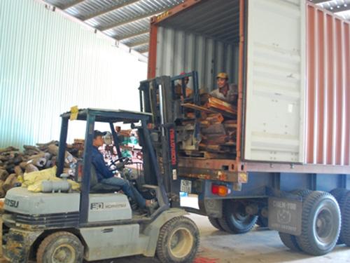 Lô hàng gỗ quý lúc bị tạm giữ để khám xét tại cảng Đà Nẵng - Ảnh: Dân trí