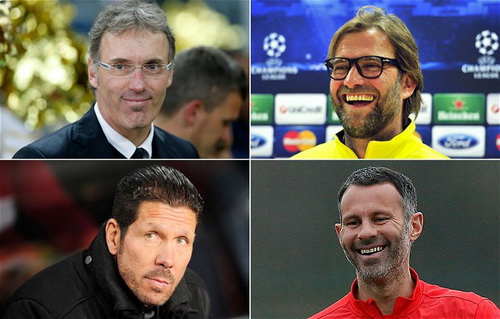 Ai tha thiết đến vị trí HLV của M.U (từ trái qua, trên xuống: Laurent Blanc, Jurgen Klopp, Diego Simeone, Ryan Gyggs)?