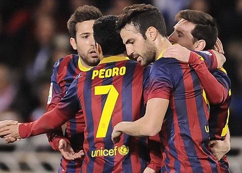 Niềm vui của Messi và đồng đội