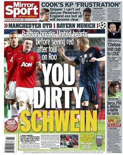 Daily Mirror cũng có câu chữ tương tự khiến Bayern nối nóng
