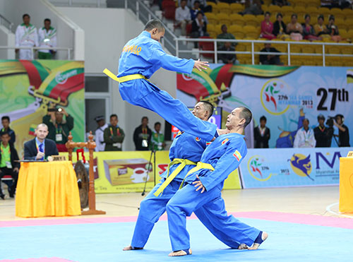 Tuy mới làm quen nhưng các võ sĩ Myanmar đã tiến bộ rất nhiều