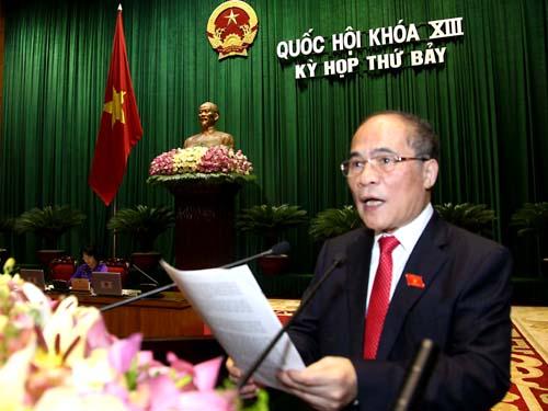 Chủ tịch Quốc hội Nguyễn Sinh Hùng: Quốc hội yêu cầu Trung Quốc rút giàn khoan 981 ra khỏi vùng đặc quyền kinh tế, thềm lục địa của Việt Nam