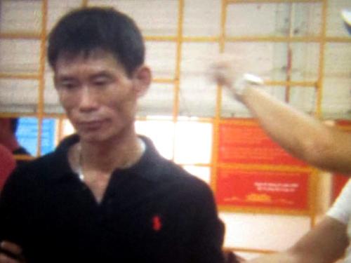 Nguyễn Văn Thủy sau khi bị bắt giữ tại cơ quan công an