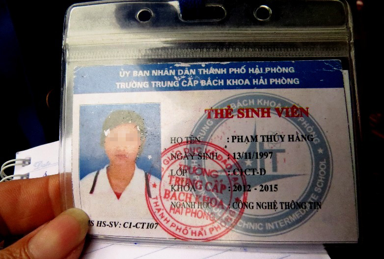 Thẻ học sinh trường Trung cấp bách khoa Hải Phòng của nữ sinh Phạm Thúy Hằng