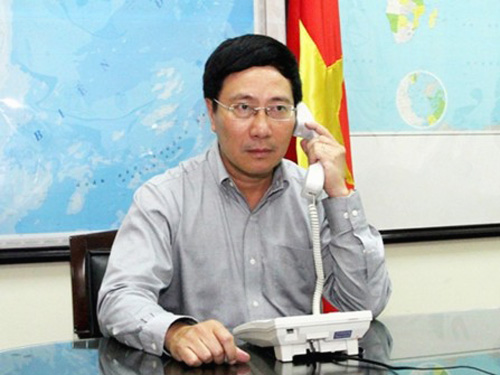 Phó Thủ tướng, Bộ trưởng Ngoại giao Phạm Bình Minh một lần nữa yêu cầu Trung Quốc rút ngay giàn khoan Hải Dương 981 và các tàu đang xâm phạm trái phép vùng biển thuộc chủ quyền, quyền chủ quyền và quyền tài phán của Việt Nam
