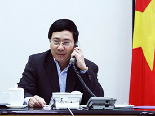Phó Thủ tướng, Bộ trưởng Ngoại giao Phạm Bình Minh điện đàm với Ủy viên Quốc vụ Trung Quốc Dương Khiết Trì