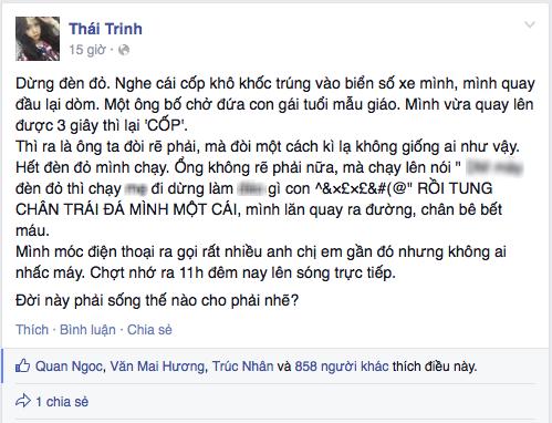 Lời chia sẻ trên Facebook được cho là của Thái Trinh