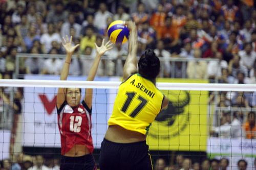 Anna Senni thi đấu rất hay ở giải lần này trong màu áo VTV Bình Điền