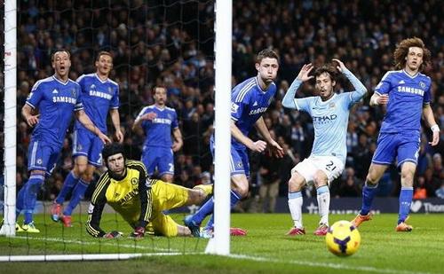 Một tình huống D.Silva bỏ lỡ cơ hội ghi bàn cho Man City