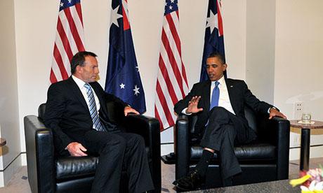 Thủ tướng Úc Tony Abbott (trái) và Tổng thống Barack Obama (phải). Ảnh: AAP