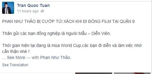 Người đẹp Phan Như Thảo bị cướp tại TP HCM