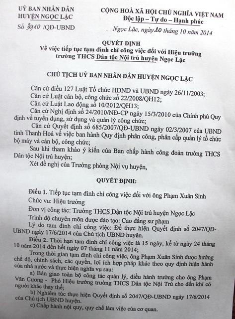 Quyết định tạm đình chỉ công tác đối với ông Phạm Xuân Sinh, Hiệu trưởng Trường THCS Dân tộc nội trú huyện Ngọc Lặc - Thanh Hóa