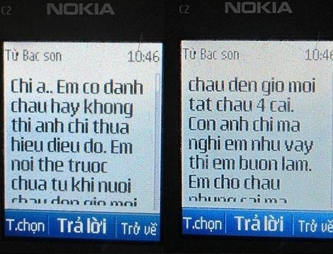 Nội dung tin nhăn Nguyễn Thanh Sơn gửi cho chị Giang.