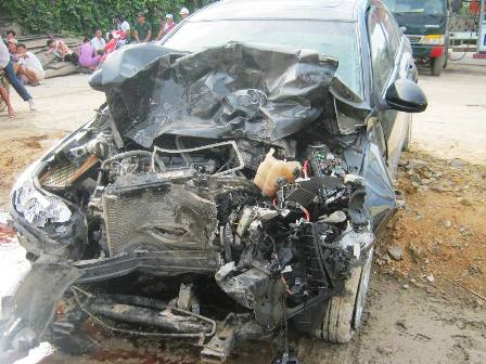 Hiện trường vụ tai nạn (ảnh Nguyễn Tình)