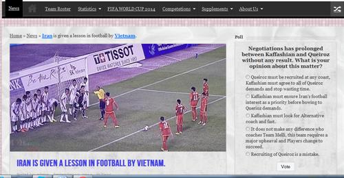 Bài viết trên trang web của bóng đá Iran