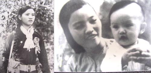 Dũng sĩ diệt Mỹ Trần Thị Gừng tại Đại hội Anh hùng Chiến sĩ Thi đua toàn quân khu năm 1966 (trái). Chị Tư Gừng và con gái đầu lòng được bà Nguyễn Thị Định chụp ảnh năm 1972 tại căn cứ R. (Ảnh do nhân vật cung cấp)