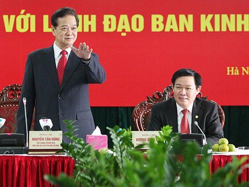 Thủ tướng Nguyễn Tấn Dũng: Kinh tế thị trường mà giá không theo thị trường, có độc quyền, cạnh tranh không bình đẳng  là không đúng Ảnh: TTXVN